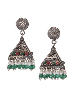 Red-Green Tribal Silver Jhumkis with Pearls