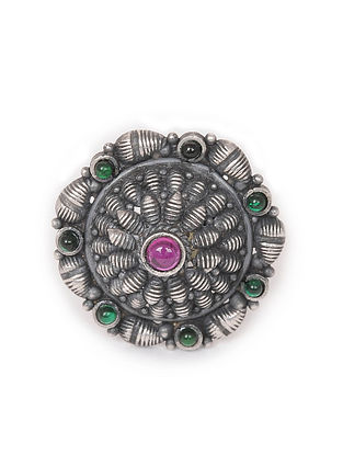 Pink-Green Tribal Silver Adjustable Ring
