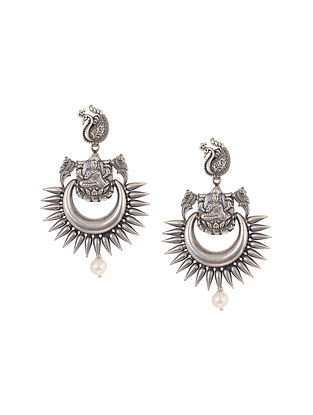 Tribal Silver Earrings with Peacock Design