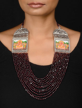 Pink Beaded Silver Necklace with Hand-painted Lord Ganesha Motif
