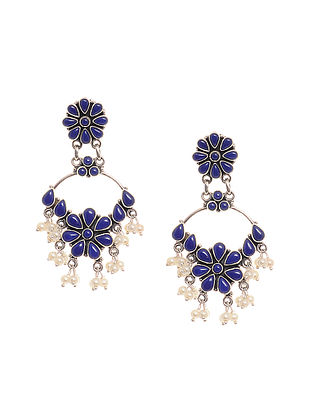 Lapis Lazuli Silver Earrings with Pearls