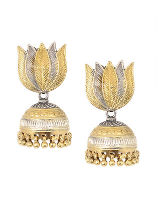 Dual Tone Silver Jhumkis with Lotus Design