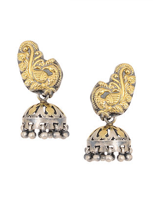 Dual Tone Silver Jhumkis with Peacock Design