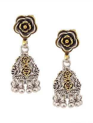 Dual Tone Silver Jhumkis with Floral Design
