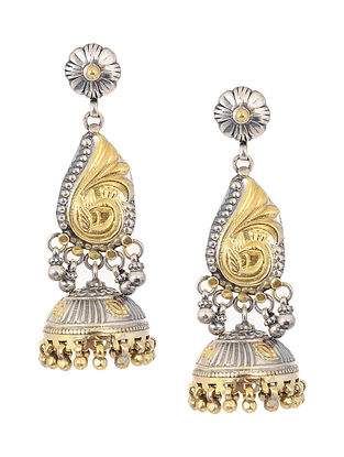 Dual Tone Silver Jhumkis with Peacock Motif