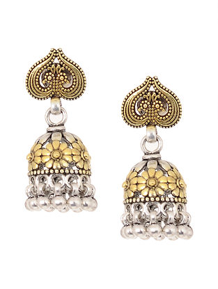 Dual Tone Silver Jhumkis with Floral Motif