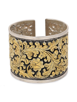 Dual Tone Silver Cuff with Floral Motif