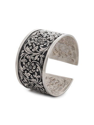 Tribal Silver Cuff with Floral Motif