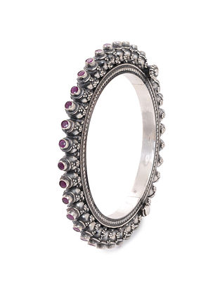 Pink Hinged Opening Tribal Silver Bangle (Bangle Size: 2/6)