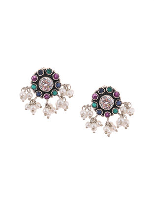 Multicolored Silver Earrings with Pearls
