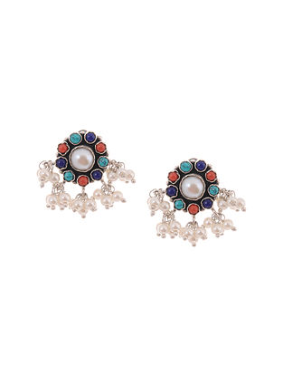 Coral Turquoise Silver Earrings