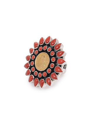 Coral Adjustable Silver Ring