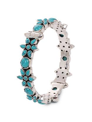 Turquoise Hinged Opening Silver Bangle (Bangle Size: 2/6)