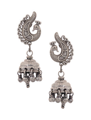 Vintage Silver Jhumkis with Peacock Motif