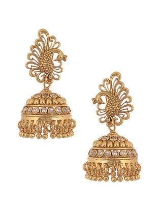 Crystal Gold Tone Silver Jhumki Earrings