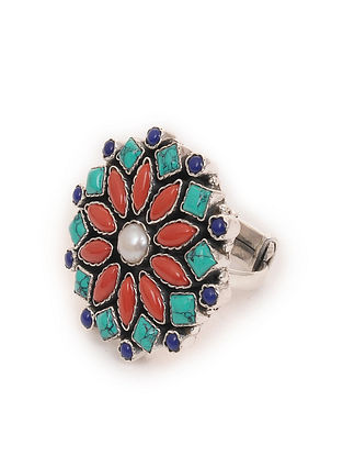 Turquoise Silver Adjustable Ring with Coral and Pearl