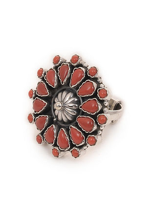Silver Adjustable Ring with Coral