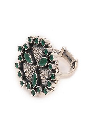 Green Silver Adjustable Ring
