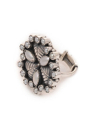 Silver Adjustable Ring with Pearls
