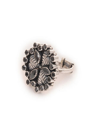 Black Silver Adjustable Ring