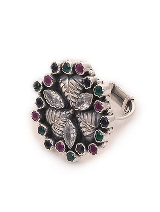 Multicolored Silver Adjustable Ring