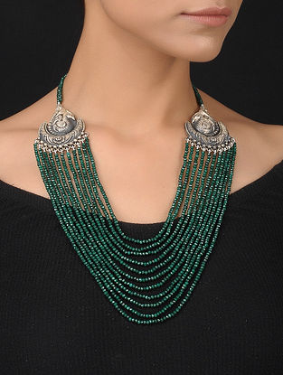 Green Silver Necklace with Peacock Motif