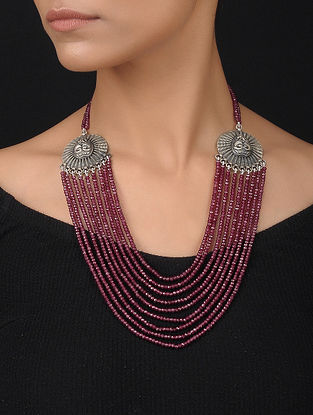 Maroon Silver Necklace