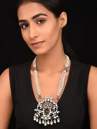 Green Brown Kundan-Inspired Tribal Silver Pearl Beaded Necklace