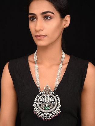 Green Maroon Kundan-Inspired Tribal Silver Pearl Beaded Necklace