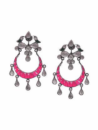 Green Pink Kundan-Inspired Tribal Silver Earrings