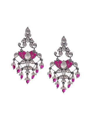 Pink Kundan-Inspired Tribal Silver Earrings with Pearls