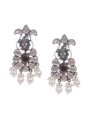Brown Kundan-Inspired Tribal Silver Earrings with Pearls