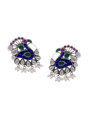 Multicolored Kundan-Inspired Tribal Silver Earrings with Pearls