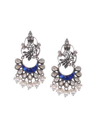 Blue Kundan-Inspired Tribal Silver Earrings with Pearls