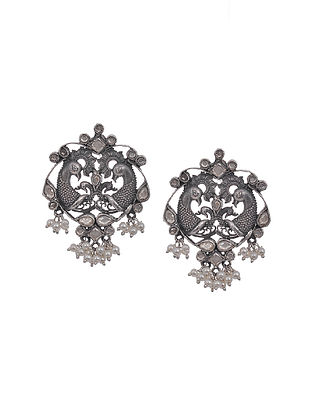 Kundan-Inspired Tribal Silver Earrings with Pearls