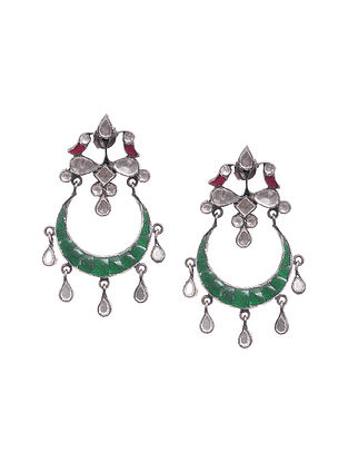 Green Pink Kundan-Inspired Tribal Silver Earrings
