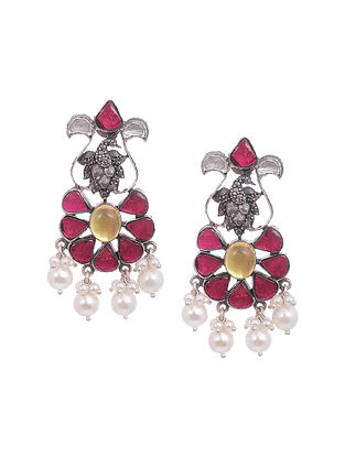 Maroon Yellow Kundan-Inspired Tribal Silver Earrings