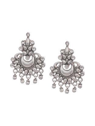 Kundan-Inspired Tribal Silver Earrings