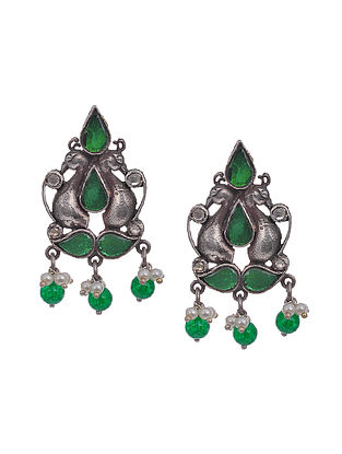 Green Kundan-Inspired Tribal Silver Earrings with Pearls