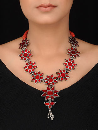 Red Glass Tribal Silver Necklace with Floral Design