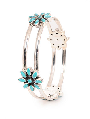 Turquoise Silver Bangle with Floral Design (Bangle Size -2/6)