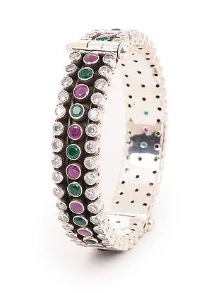 Green-Pink Hinged Opening Silver Bangle (Bangle Size -2/2)