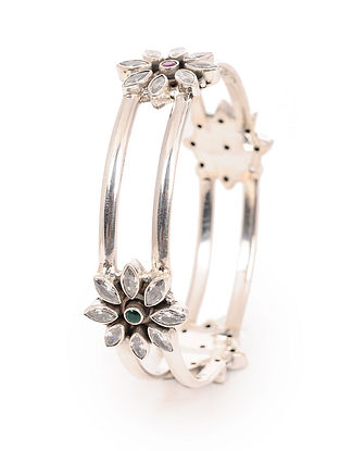 Pink-Green Silver Bangle with Floral Design (Bangle Size -2/4)