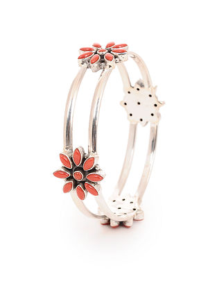 Coral Silver Bangle with Floral Design (Bangle Size -2/4)