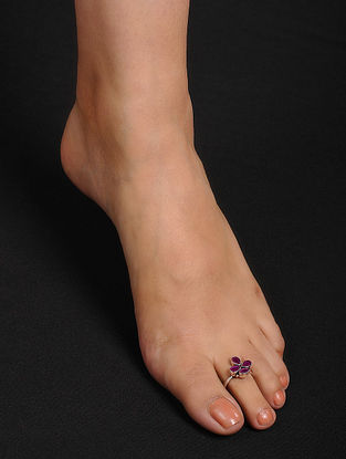 Purple Adjustable Silver Toe Rings (Set of 2)
