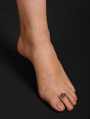 Pink Adjustable Silver Toe Rings (Set of 2)