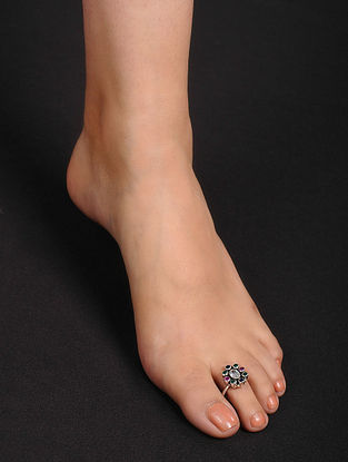 Multicolored Adjustable Silver Toe Rings (Set of 2)