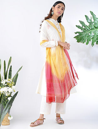 Yellow-Red Block-printed Chiffon Dupatta