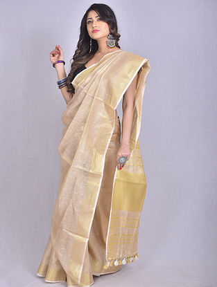 Beige Handwoven Tissue Linen Saree with Tassels