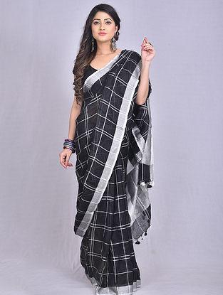 Black Handwoven Linen Saree with Tassels